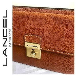 NWOT Lancel Signature Leather Clutch Wristlet